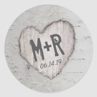 Rustic Carved Heart Initials Birch Tree Wedding Classic Round Sticker