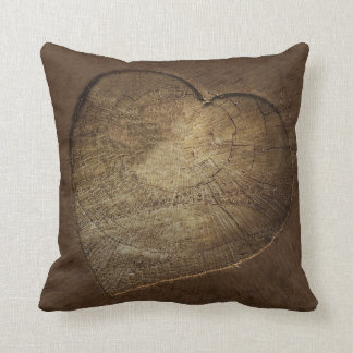 Rustic Carved Heart Oak Tree Slice Throw Pillow