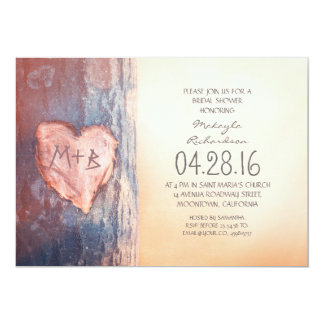 Rustic carved heart tree bridal shower card