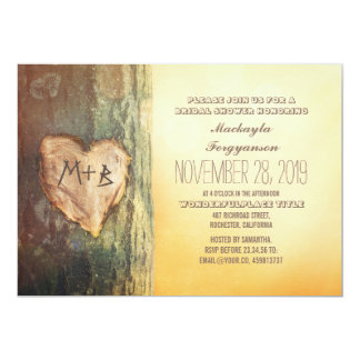 Rustic Carved Heart Tree Bridal Shower 13 Cm X 18 Cm Invitation Card