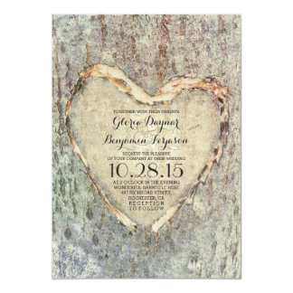 rustic carved heart tree vintage wedding 5x7 paper invitation card