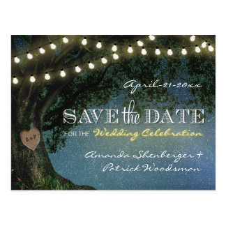 Rustic Carved Oak Tree Wedding Save The Date Cards