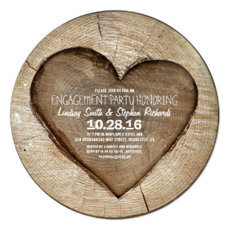 Rustic carved tree wood heart engagement party card