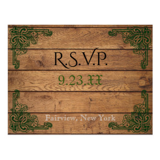 Rustic Celtic Claddagh RSVP Card
