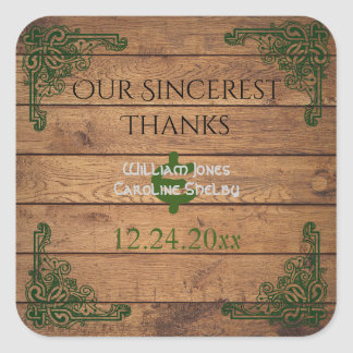 Rustic Celtic Claddagh Thank You Sticker