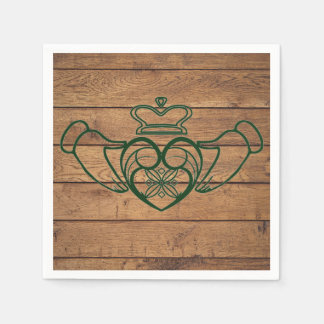 Rustic Celtic Claddagh Wood Texture Disposable Napkin
