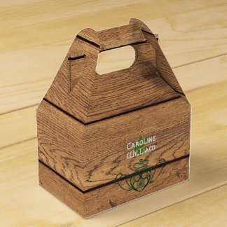 Rustic Celtic Claddagh Wood Texture Favour Box