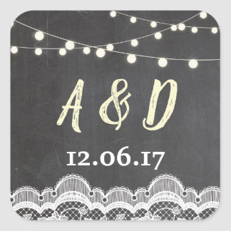 Rustic Chalk Lace Floral Jar Initials Lights Label