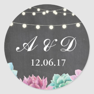 Rustic Chalk Succulents Lights Stickers Labels
