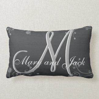 Rustic Chalkboard 3d Monogram Lumbar Pillow