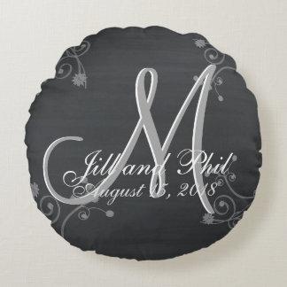 Rustic Chalkboard 3d Monogram Round Cushion