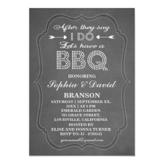 Rustic Chalkboard After They Say I DO BBQ Invite