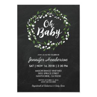 RUSTIC CHALKBOARD BABY SHOWER   BABY'S BREATH 13 CM X 18 CM INVITATION CARD