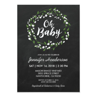RUSTIC CHALKBOARD BABY SHOWER | BABY'S BREATH CARD