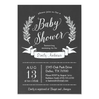 Rustic Chalkboard Baby Shower Invitation