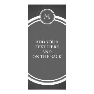 Rustic Chalkboard Background Monogram Custom Rack Cards
