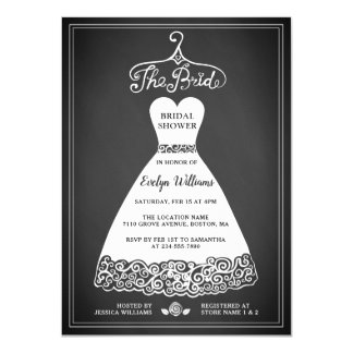 Rustic Chalkboard Bridal Shower Invitation Card