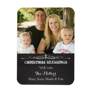 Rustic Chalkboard Christmas Blessing Photo Rectangular Photo Magnet