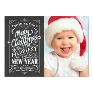 Rustic Chalkboard Christmas Holiday Photo Cards 11 Cm X 16 Cm Invitation Card