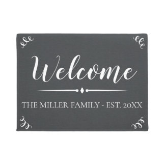 Rustic Chalkboard Deco Family Name Personalized Doormat