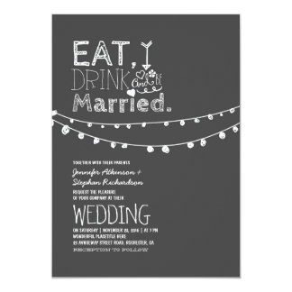 Rustic Chalkboard Eat Drink And Be Married Wedding 13 Cm X 18 Cm Invitation Card