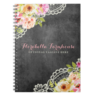 Rustic Chalkboard Farmhouse Roses Lace Shabby Chic Notebooks