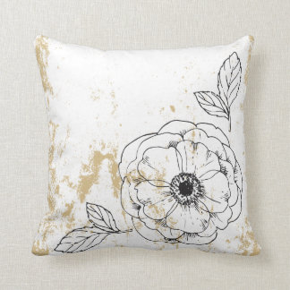 Rustic Chalkboard Floral Gold Throw Pillow