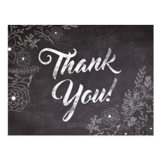 Rustic Chalkboard Floral Thank You Card