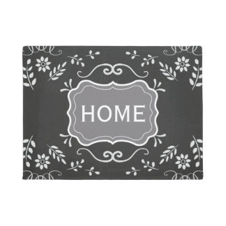 Rustic Chalkboard Flourish Design Doormat