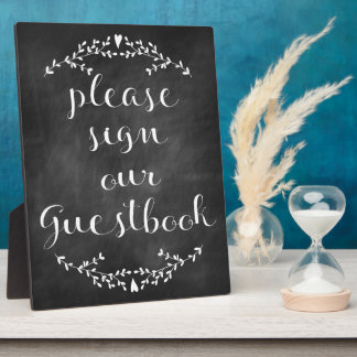 Rustic Chalkboard Guestbook Sign Plaque