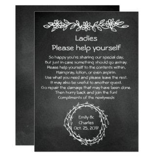 Rustic Chalkboard Look Wedding Basket Sign Card