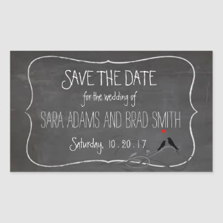 Rustic Chalkboard Lovebirds Save the Date Stickers