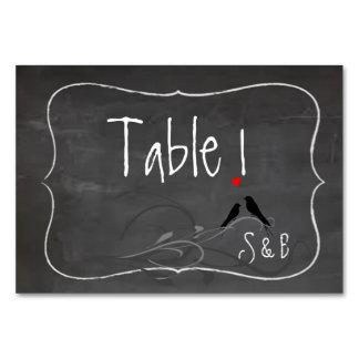 Rustic Chalkboard Lovebirds Table Cards