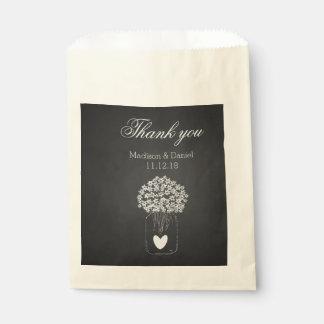Rustic Chalkboard Mason Jar Flowers Thank You Favour Bag