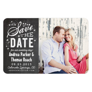 Rustic Chalkboard Photo Save the Date Magnet