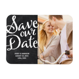 Rustic Chalkboard | Photo Save the Date Rectangular Photo Magnet