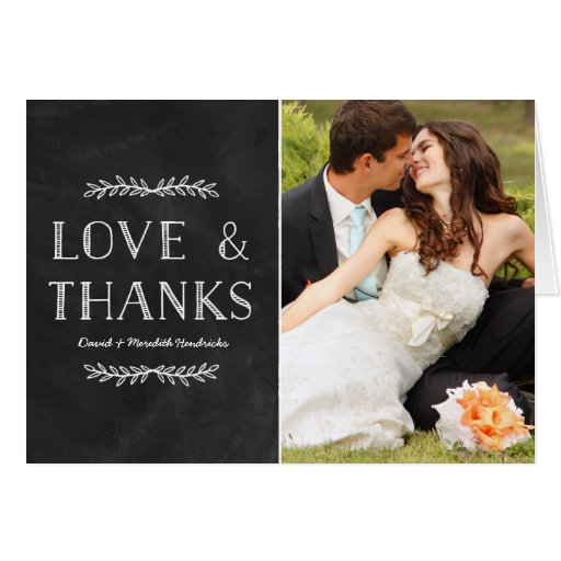Rustic Chalkboard | Photo Thank You Greeting Card