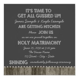 """Rustic Chalkboard Redneck Wedding Invitations 5.25"""" Square Invitation Card"""