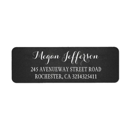 rustic chalkboard return address label