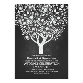 rustic chalkboard tree wedding invites