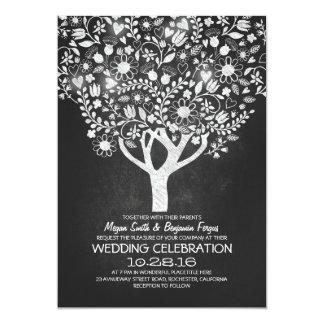rustic chalkboard tree wedding invites