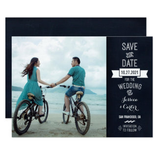 Rustic Chalkboard Typography Photo Save the Date Card
