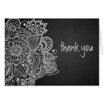 Rustic Chalkboard Vintage Paisley Thank You Greeting Card