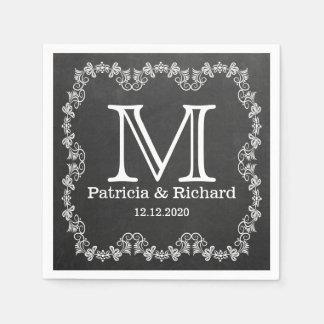 Rustic Chalkboard Wedding Monogram Disposable Napkin