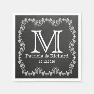 Rustic Chalkboard Wedding Monogram Paper Napkins