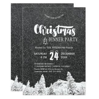 Rustic chalkboard white dark grey Christmas party Card