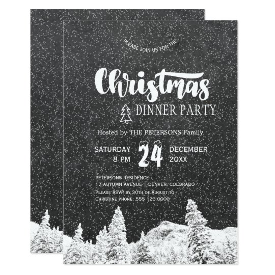 Rustic chalkboard white dark grey Christmas party Card