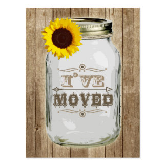 Rustic Change Of Address Mason Jar Sunflower I've Postcard