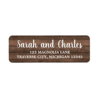 Rustic Charm Dark Wood Address Return Address Label
