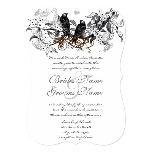 Rustic Cherry Blossom Love Bird Wedding 13 Cm X 18 Cm Invitation Card